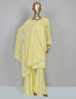 Lemon yellow cotton festive punjabi sharara suit