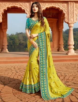 Lemon yellow designer saree for festive in silk