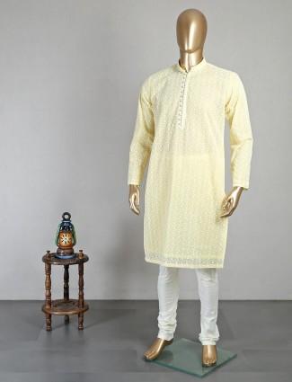 Lemon yellow thread work georgette kurta suit