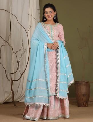 Lemonade pink cotton punjabi style printed festive sharara suit