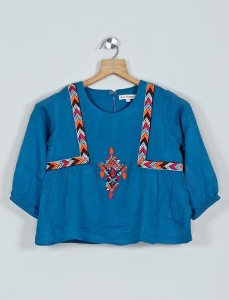 Leo N Babes blue printed quarter sleeve cotton top