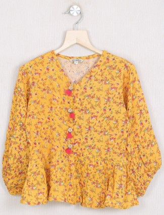 Leo N Babes casual style georgette top in honey yellow