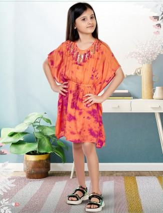 Leo N Babes cotton kaftan style orange frock