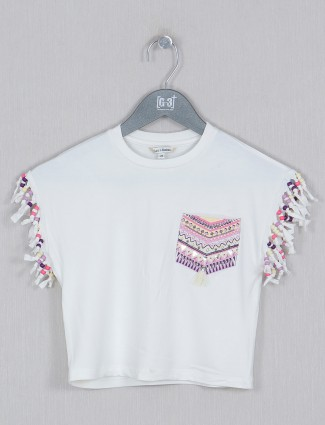 Leo N Babes cotton off white round neck casual girls top