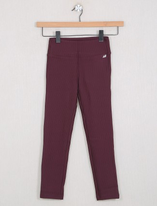 Leo N Babes cotton stripe jeggings in maroon color