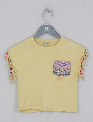 Leo N Babes mustard yellow casual cotton girls top