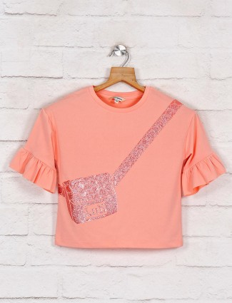 Leo N Babes printed peach cotton top for girls