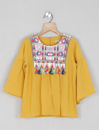 Leo N Babes solid mustard yellow casual georgette top
