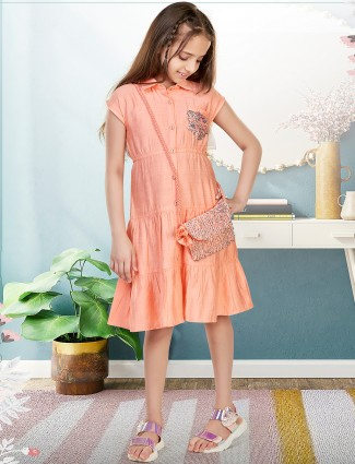 Leo N Babes solid peach cotton frock