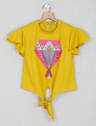 Leo N Babes yellow printed cotton top