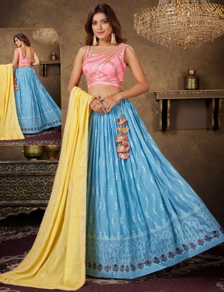 Levender blue and pink georgette wedding occasions lehenga choli