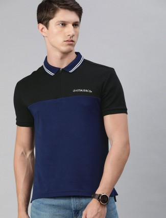 Levis black and blue solid casual wear t-shirt