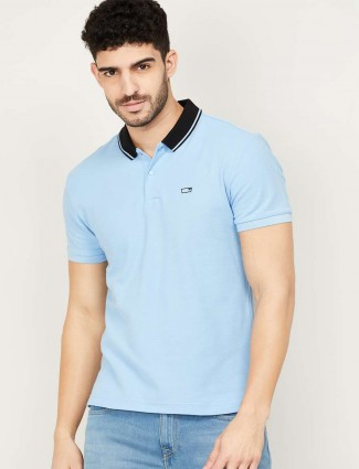 Levis blue solid polo neck polo t-shirt