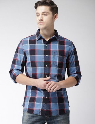 Levis cotton fabric blue checked shirt