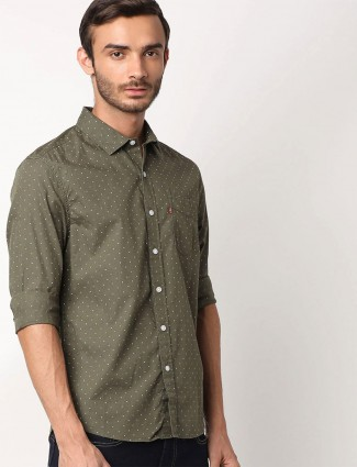 Levis full sleeves olive printed shirt