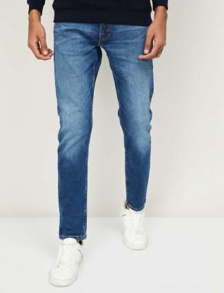 Levis mens washed blue 512 taper slim fit jeans