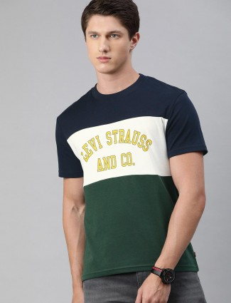 Levis navy and green solid round neck t-shirt