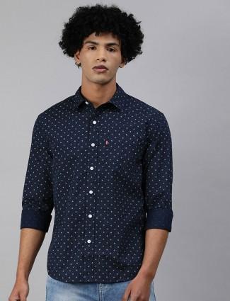 Levis printed navy cotton mens shirt