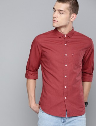 Levis red linen solid casual wear shirt