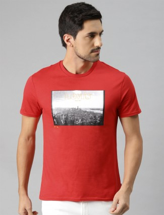 Levis red printed casual t-shirt
