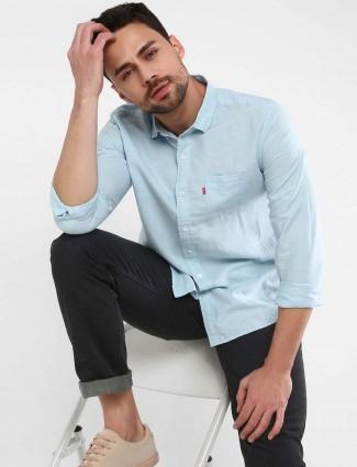Levis sky blue solid linen mens shirt