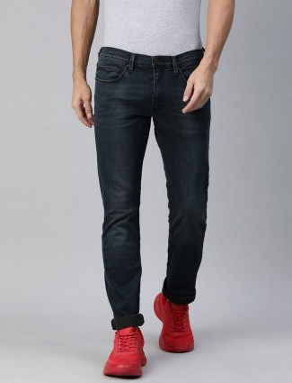 Levis solid navy skinny fit jeans