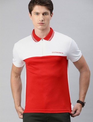 Levis solid red and white half sleeves t-shirt