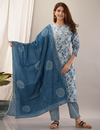 Light blue color cotton pant suit for women