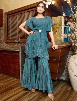 Light blue Designer georgette Sharara suit for wedding occasions