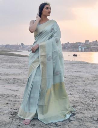 Light blue saree of banarasi silk with floral motives