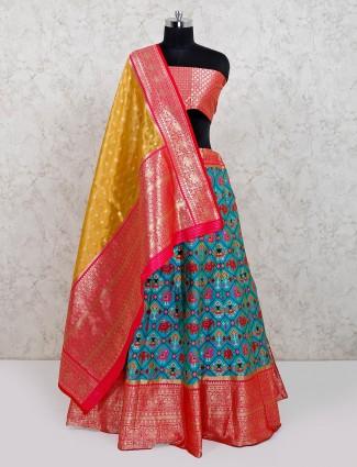 Light blue wedding wear designer patola silk lehenga choli