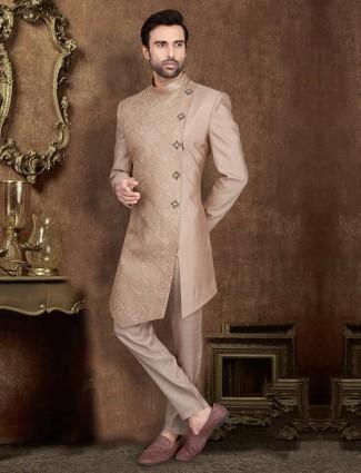 Light brown designer raw silk party wear indo western