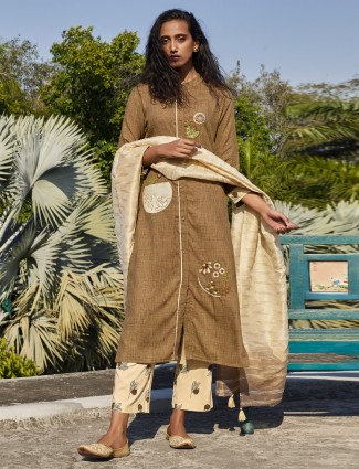 Light brown kurta sets with contrast pants in cotton