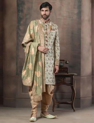 Light green color silk fabric wedding indo western