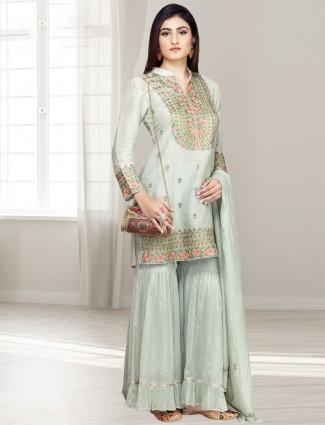 Light green cotton silk punjabi sharara suit