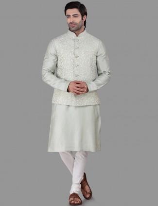 Light green cotton silk waistcoat set