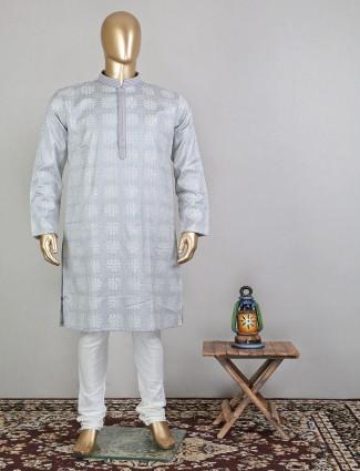 Light grey designer festive cotton kurta suit