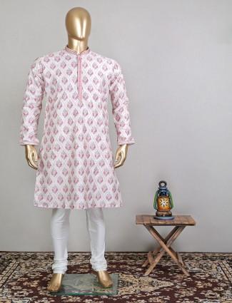Light pink cotton festive wear kurta suit