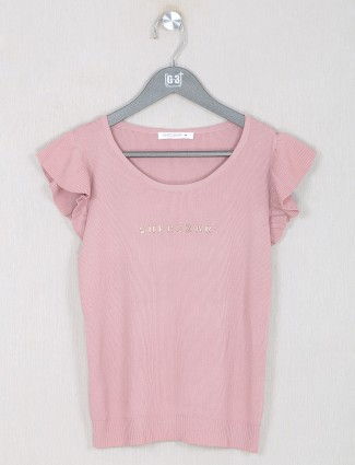 Light pink elegant solid casual top
