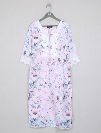 Light pink printed cotton casual wear kurti