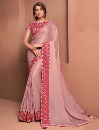 Light pink satin georgette party saree