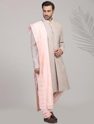 Light pink silk designer lakhnawi sherwani