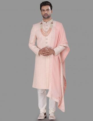 Light Pink silk sherwani with chikan style
