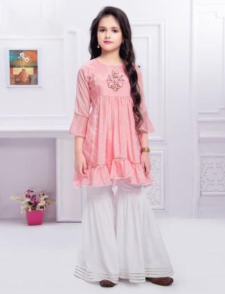 Light pink wedding functions gerogette sharara suit for girls