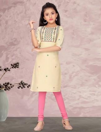 Light yellow cotton salwar suit for girls