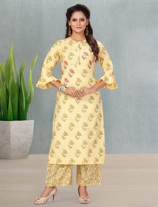 Light yellow printed cotton punjabi style palazzo suit