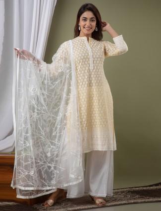 light yellow punjabi style lucknowi cotton festive wear palazzo suit