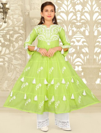 Lime green hue palazzo suit in cotton