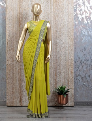 Lime green shade ready to wear saree with readymade blouse