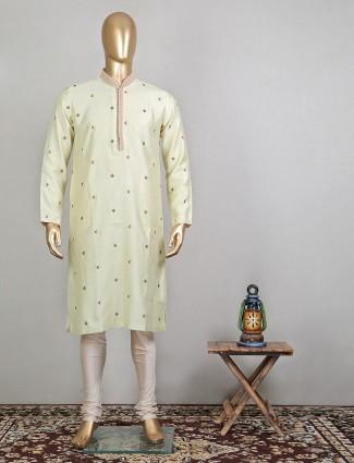 Lime yellow festive wear raw silk kurta suit